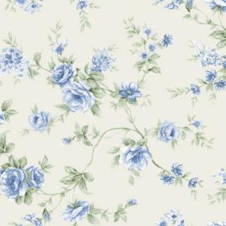 Flanel Roses blue